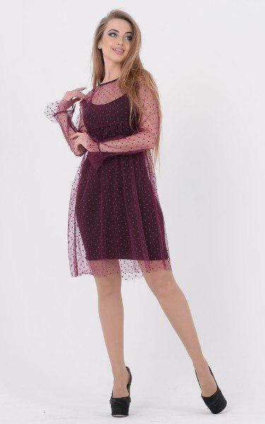Платье с декорированной сеткой сверху 45plt1165