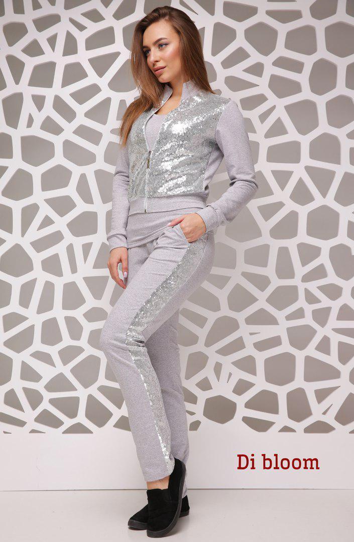 Женский спортивный костюм с пайеткой на кофте 50spt267