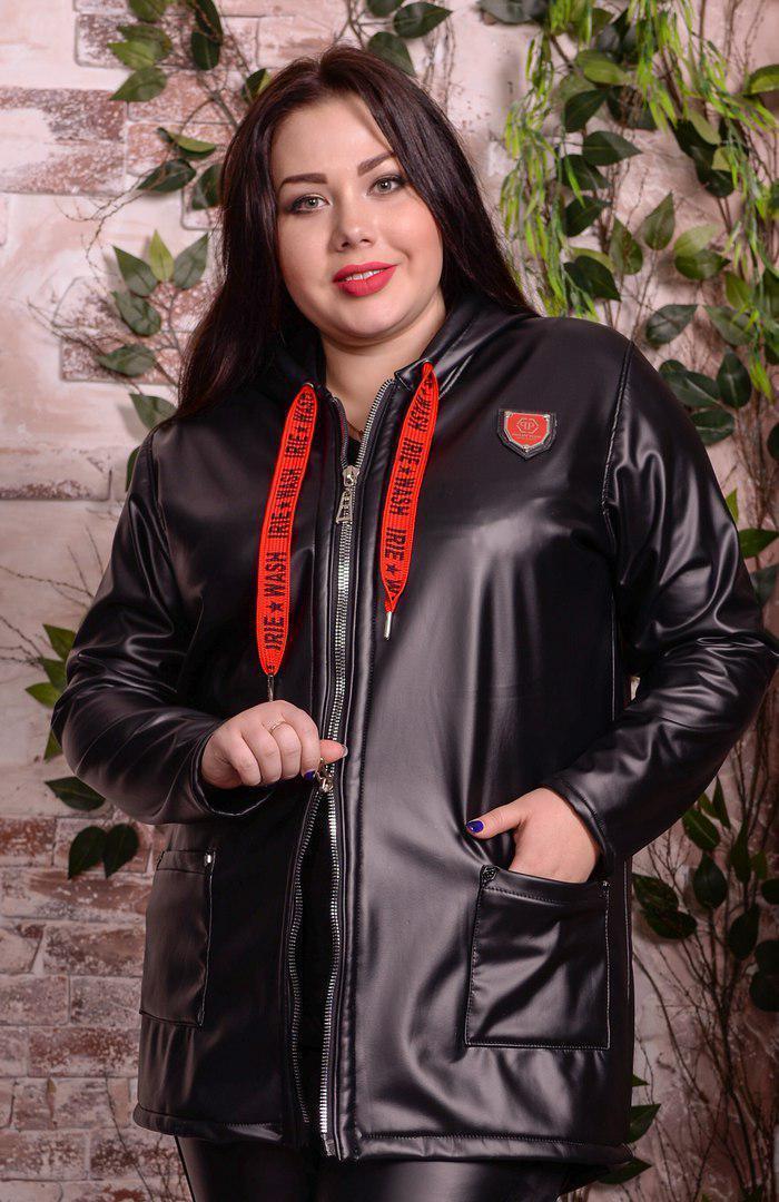 Женская удлиненная кожаная куртка в больших размерах 10blr602