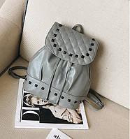 0437 Рюкзак   женский  эко кожа серый