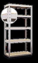Стеллаж полочный Стандарт, оцинкованный, на зацепах (1800х900х400), 5 полок, ДСП, 220 кг/полка
