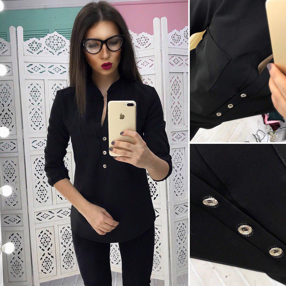 Жеснкая блуза с пуговицами спереди и воротником-стойкой 66bir123