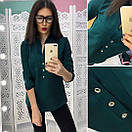 Жеснкая блуза с пуговицами спереди и воротником-стойкой 66bir123, фото 3