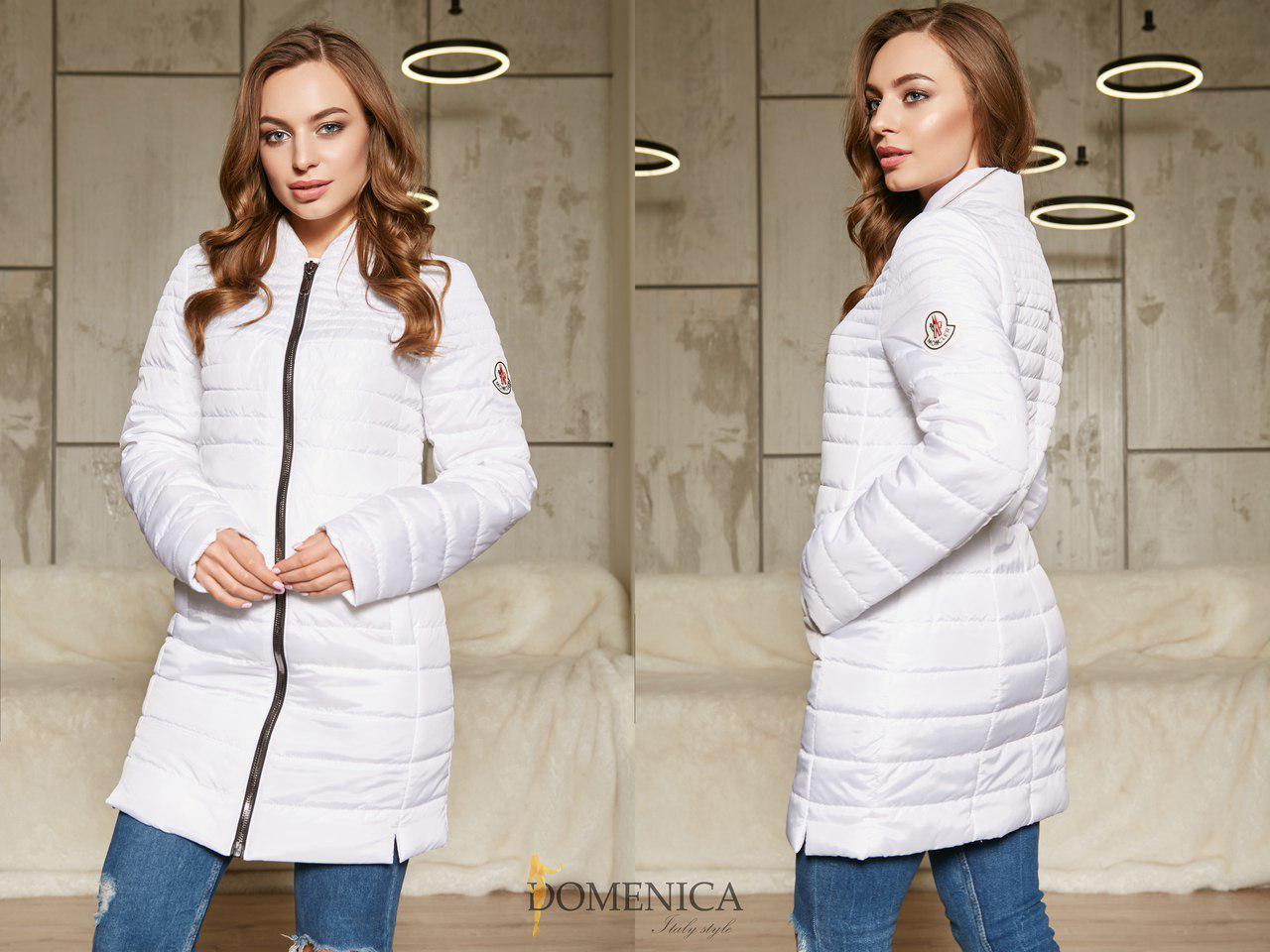 Удлиненная женская демисезонная куртка на молнии 31kur85