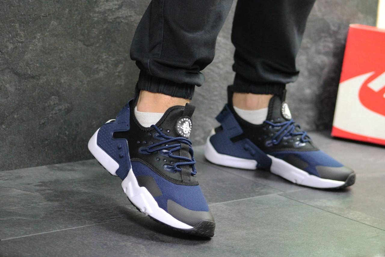 Мужские кроссовки Nike Air Huarache (Черно-синие)