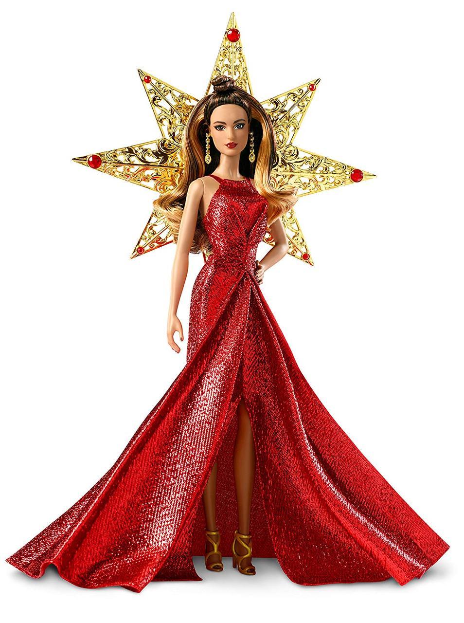 Коллекционная кукла Барби Оригинал Шатенка в красном платье, Barbie DYX41 Holiday