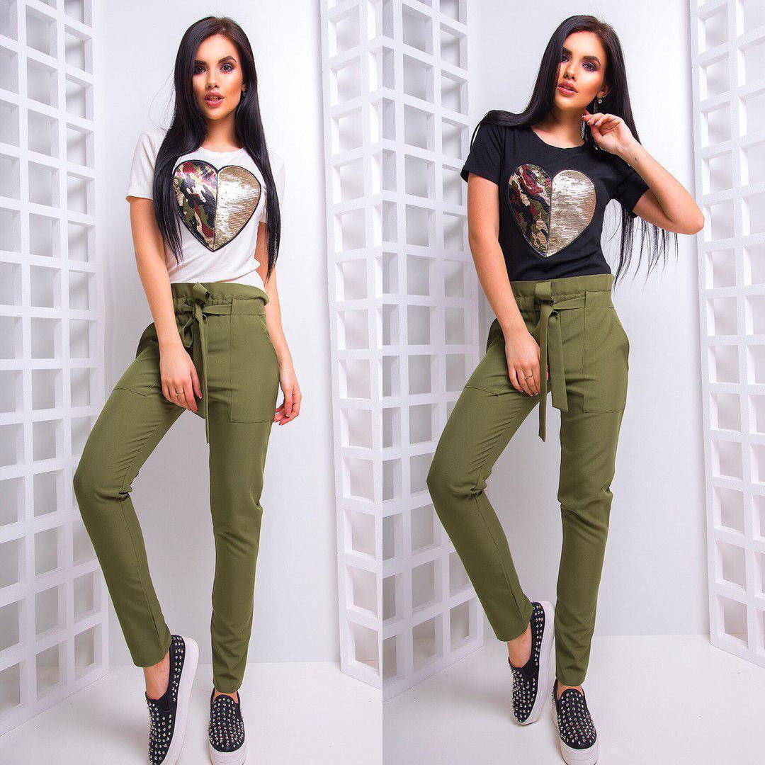 Женские прямые брюки с поясом 66bil237