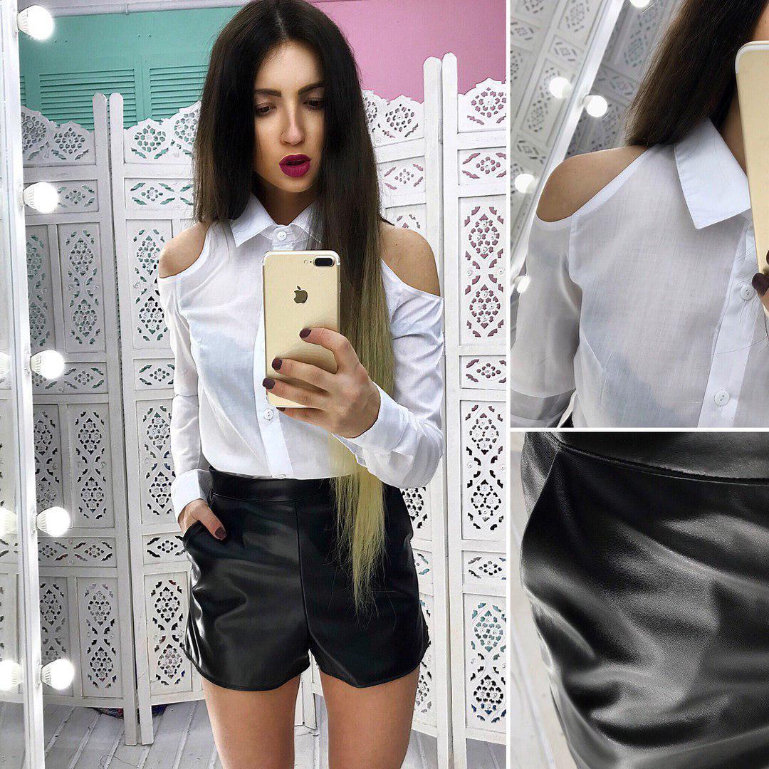 Женский костюм рубашка и шорты из экокожи 66kos436