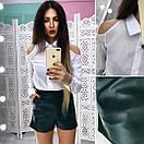 Женский костюм рубашка и шорты из экокожи 66kos436, фото 3