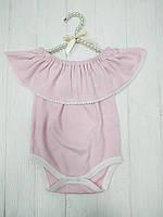 Боди для девочки с открытыми плечами  Розовый