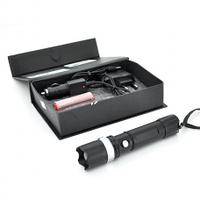 Фонарик ручной Т-8826, 3 реж., Zoom, корпус- алюминий, ударостойкий, 18650 ак-тор, СЗУ+АЗУ, BOX
