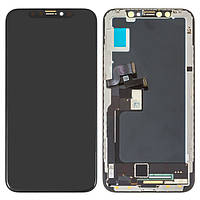 Дисплейный модуль (экран и сенсор) для iPhone X, с рамкой, черный, 100% оригинал