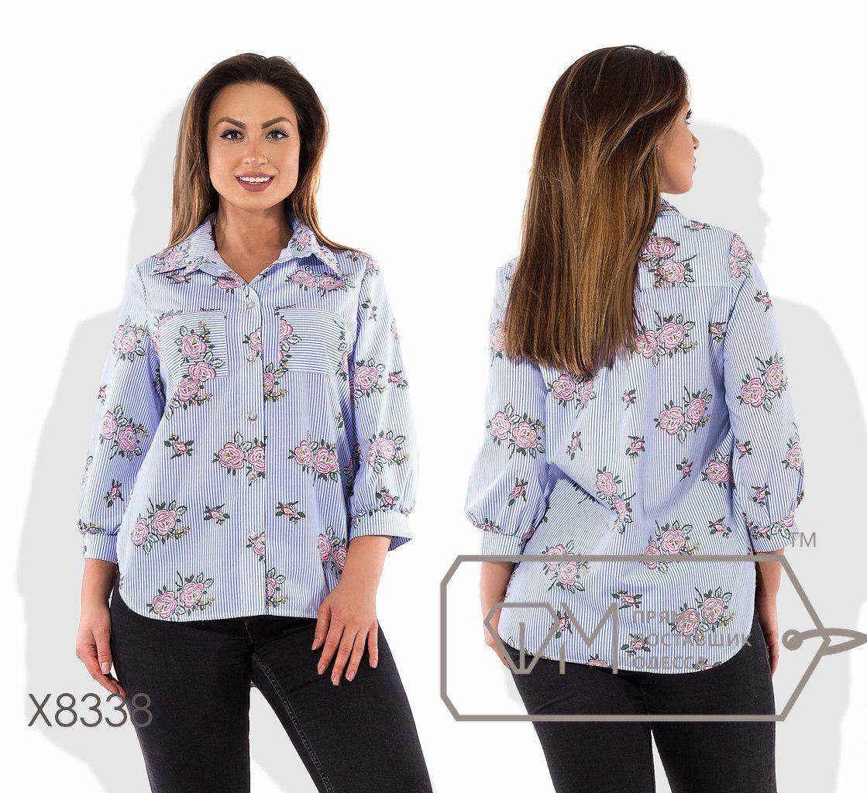 Легкая хлопковая рубашка батал с принтом fmx8338