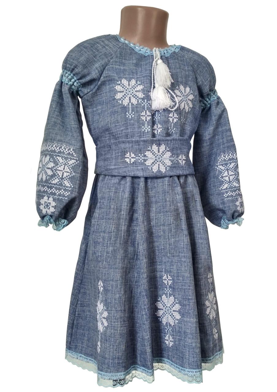 Пишна сукня із поясом для дівчинки в кольорі джинсу