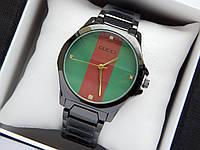 Наручные часы Gucci черного цвета с красной полосой на зеленом циферблате, фото 1