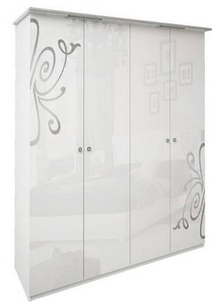 Шкаф 4дв без зеркал Богема белый глянец ТМ Миро Марк, фото 2