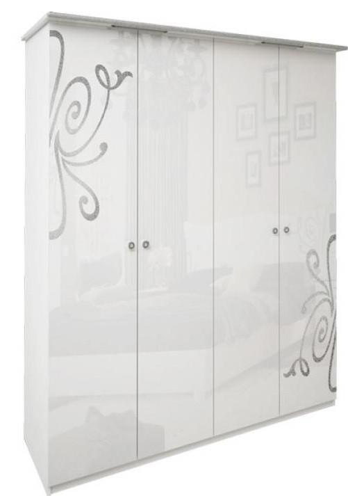 Шкаф 4дв без зеркал Богема белый глянец ТМ Миро Марк, фото 1