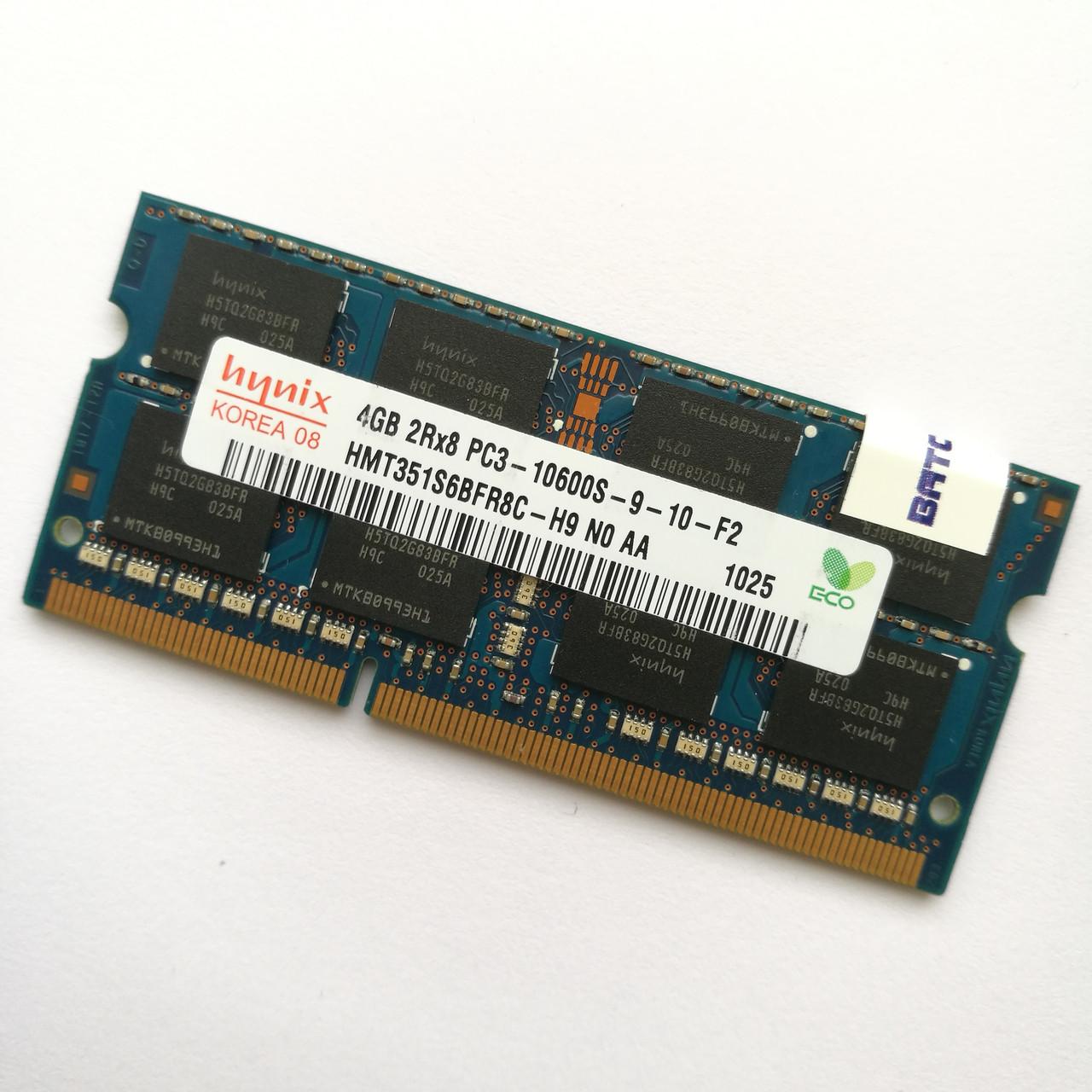 Оперативная память для ноутбука Hynix SODIMM DDR3 4 Gb 1333 MHz 10600s 2R8 CL9 (HMT351S6BFR8C-H9 N0 AA) Б/У