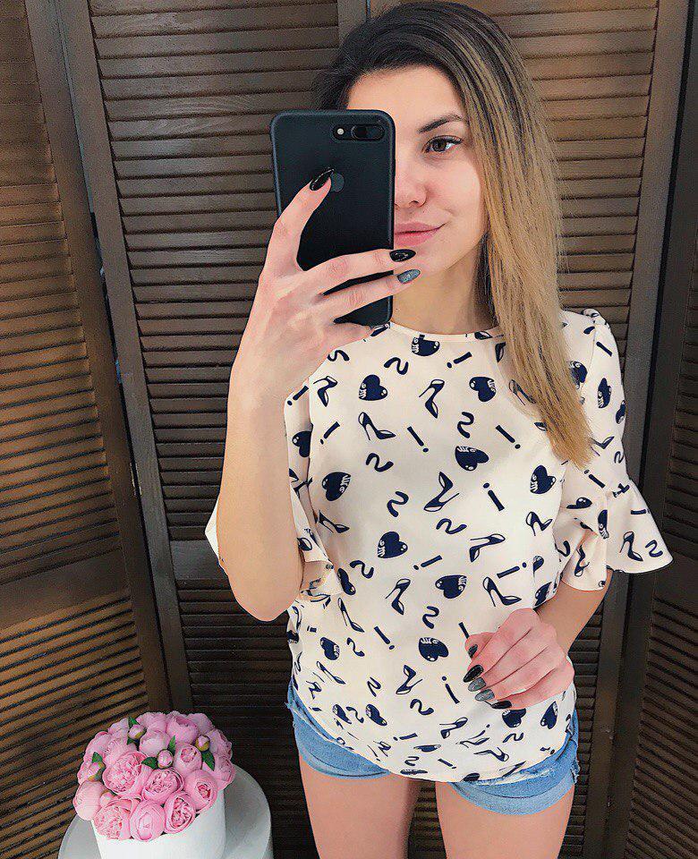 Женская принтованная блуза с широкими рукавами 65birbir8
