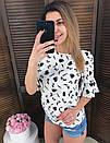 Женская принтованная блуза с широкими рукавами 65birbir8, фото 3