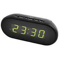 Часы сетевые 712-2 зеленые, USB