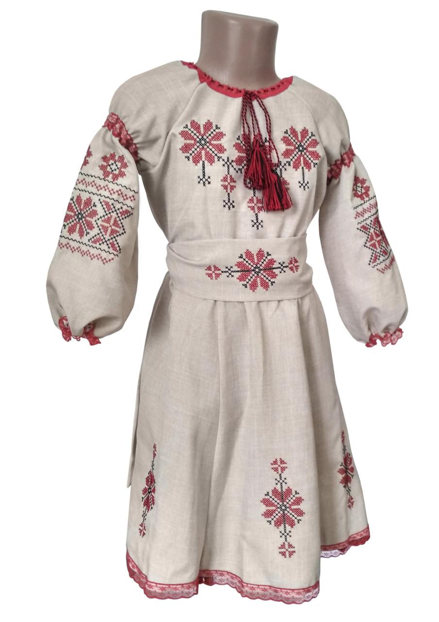 Вышитое платье для девочки с льна с пышными длинными рукавами