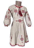 Вишита сукня для дівчинки із льону із пишними довгими рукавами