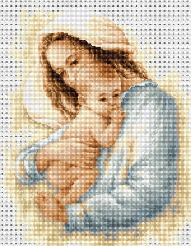 Набор для вышивания крестиком 21х26,5см Мать и дитя. Luca-S