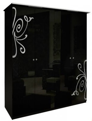 Шкаф 4дв без зеркал Богема глянец черный ТМ Миро Марк