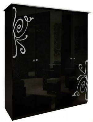Шкаф 4дв без зеркал Богема глянец черный ТМ Миро Марк, фото 2