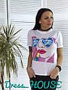 Женская летняя футболка с рисунком 5fut54, фото 4