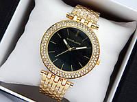 Жіночі кварцові наручні годинники копія Michael Kors золотого кольору, з двома рядами страз, чорний циферблат, фото 1