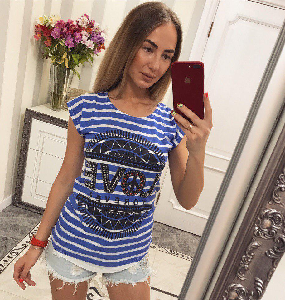 Женская футболка в полоску с рисунком 33fut69
