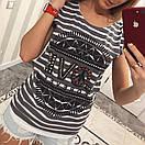 Женская футболка в полоску с рисунком 33fut69, фото 3
