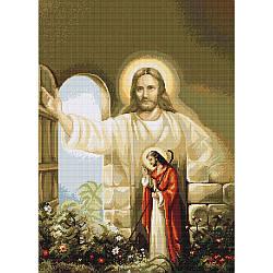 Набор для вышивания крестиком 42х31см. Иисус стучащийся в дверь. Luca-S