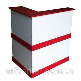Компактная стойка-ресепшн, бело-красная