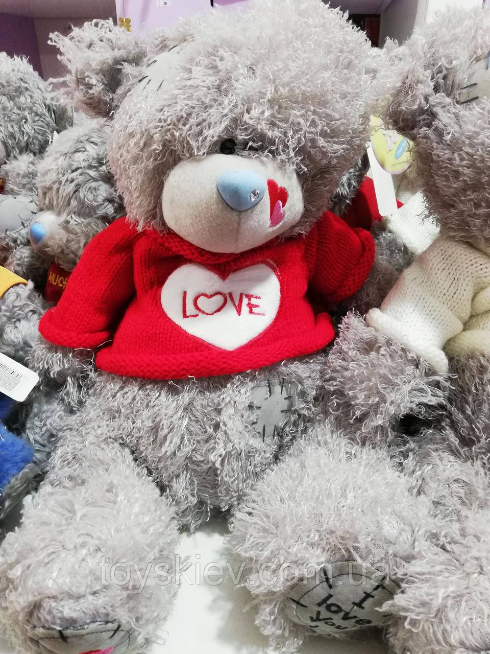 """Игрушка """"Мишка Тедди"""" (плюшевый) 40 см. в красной футболке с камушком в носу."""