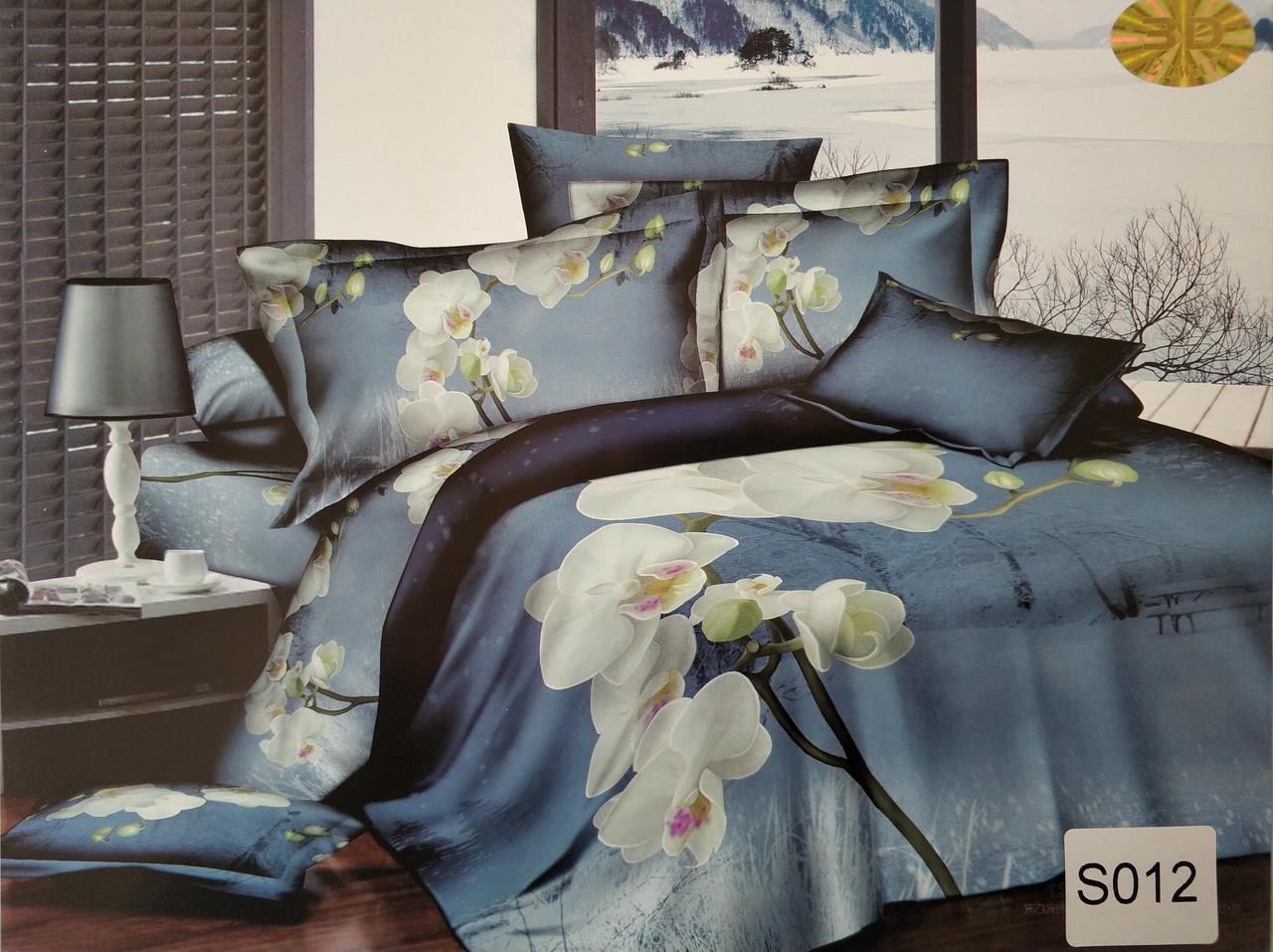 Сатиновое постельное белье евро 3D ELWAY S012