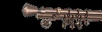 Карниз двойной 200см D16/16мм медь античная MILANO