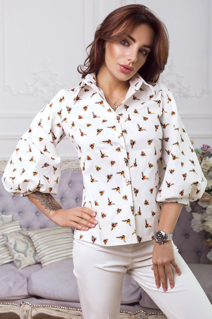 Коттоновая женская притованная блуза с рукавами-фонариками 14bir150