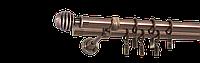 Карниз двойной 200см D16/16мм медь античная VERONA