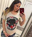Женская прямая летняя футболка с рисунком 33fut91, фото 2
