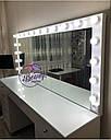 Широкий гримерный стол, большое зеркало с лампами, фото 4