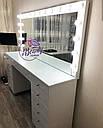 Широкий гримерный стол, большое зеркало с лампами, фото 2