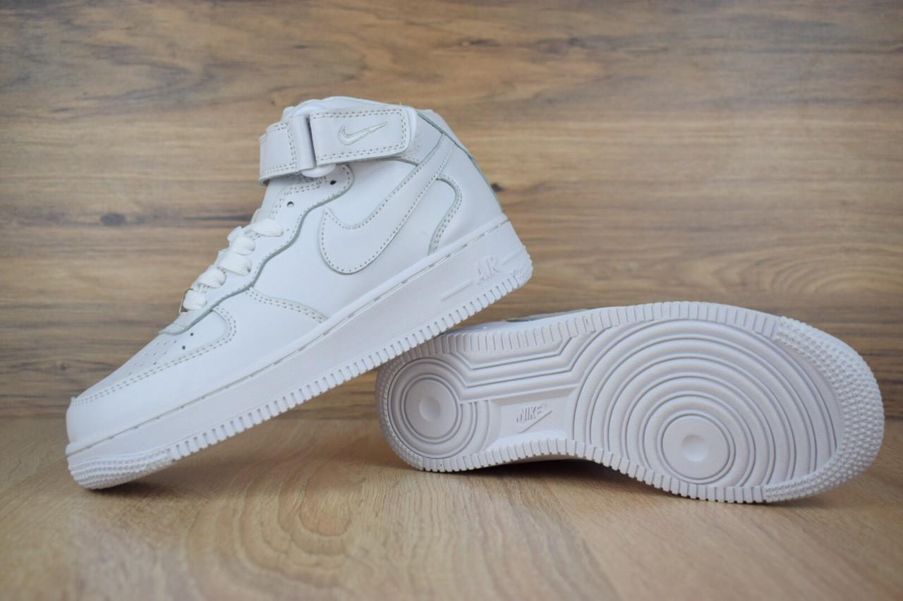 87139b4d Подростковые кроссовки NIKE Air Force кожаные высокие белые люкс копия,  цена 950 грн., купить в Киеве — Prom.ua (ID#872352865)