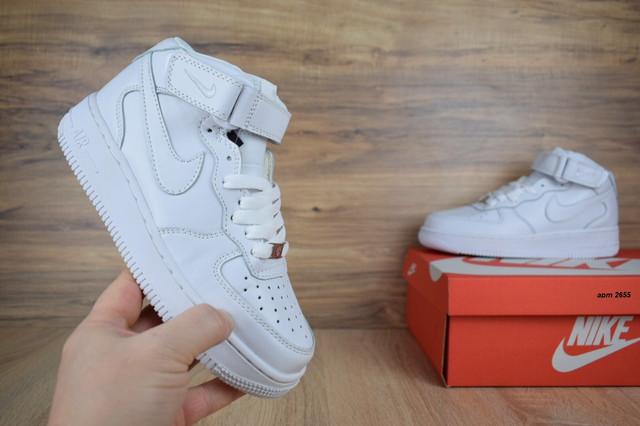 00c9ea1f Подростковые кроссовки NIKE Air Force кожаные высокие белые люкс ...