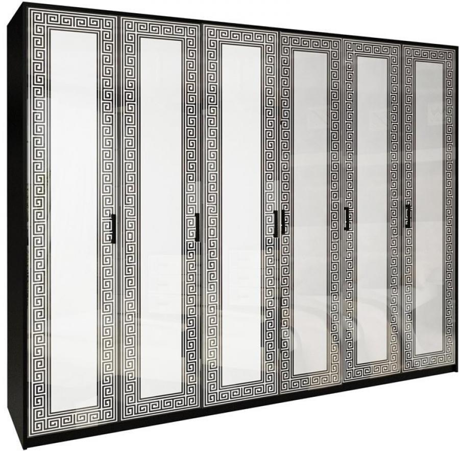 Шкаф 6дв Viola без зеркал глянец белый- черный мат ТМ Миро Марк, фото 1