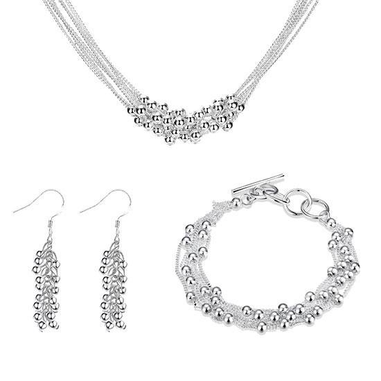 Женский комплект бижутерии (колье, серьги, браслет) Гроздья шариков покрытие серебро 925