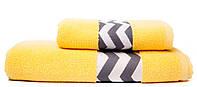 Набор махровых полотенец с зигзагами 50х90 70х140 Жёлтый