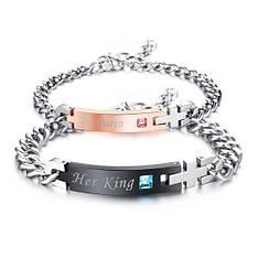 Красиві парні браслети для двох закоханих ланцюг медична сталь позолота камені цирконій гравірування